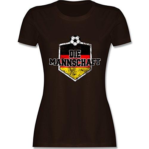 EM 2016 - Frankreich - Deutschland- Die Mannschaft Vintage - tailliertes Premium T-Shirt mit Rundhalsausschnitt für Damen Braun