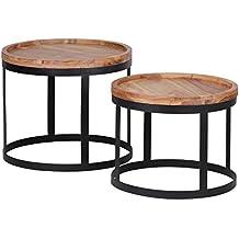 Wohnling 2er Set Beistelltische AKOLA Massivholz Akazie Wohnzimmer Tisch  Landhaus Stil Anstelltisch Metallgestell Natur