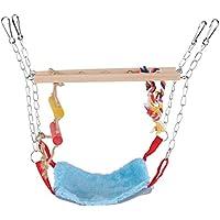 Juguete de Aves Loro Escalada Juguete Escalera de Oscilación Colorida con Accesorios de Cama Puentes Colgantes para Mascotas(Azul)