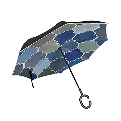 isaoa Große Schirm Regenschirm Winddicht Doppelschichtige Konstruktion seitenverkehrt Faltbarer Regenschirm für Auto Regen Außeneinsatz, C-förmigem Henkel Regenschirm Marokkanische Regenschirm für Damen und Herren (Marokkanische Auto-tag)