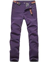 emansmoer Femme Élastique Doublé polaire Pantalon Softshell Imperméable Outdoor Sport Pantalons de randonnée escalade