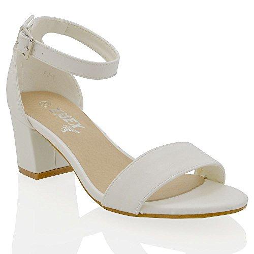 ESSEX GLAM Sandalo Donna Bianco Sintetico Tacco Medio-Basso con Cinturino alla Caviglia EU 39