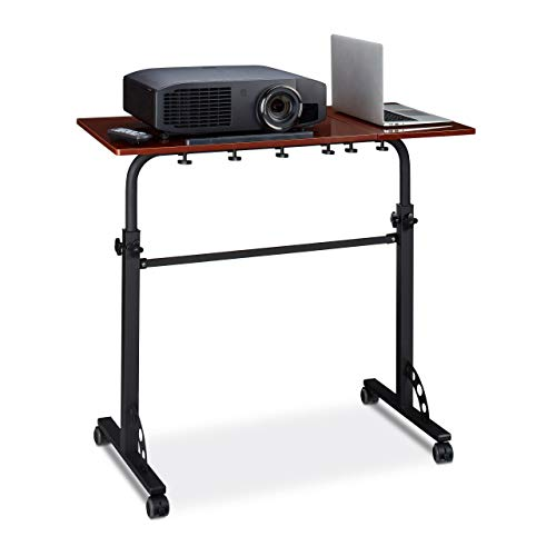 Relaxdays Laptoptisch groß XXL höhenverstellbar, HxBxT: 110 x 100 x 50 cm, Holz, Mobiles Rednerpult, Bremsbare Rollen, Notebook, Beamer, Laptops, 2 Ablagen, Mahagoni braun -