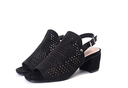Römischen Stil Hohl Offener Zeh Klobig Niedrige Ferse All-Match Mode Sandale für Frauen Black
