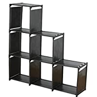 ABO Gear Book Shelf Book Shelf Cube Organizer Storage Cube Closet Organizer Bookshelf, 6 Cube Organizer Cabinet Bookcase Black
