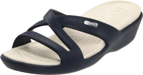 Criss Cross Wedge Sandal (Crocs  Patricia II,  Damen Durchgängies Plateau Sandalen mit Keilabsatz, Blau (Navy/Stucco 46K), 42.5)