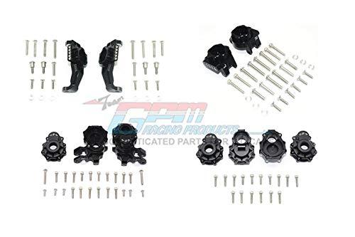 G.P.M. Traxxas TRX-4 Defender / Tactical Unit / Ford Bronco / Blazer Tuning Teile Aluminum Front + Rear C Hub, Rear Gear Box Mounts, Front + Rear Knuckle Arms - 104Pc Set Black