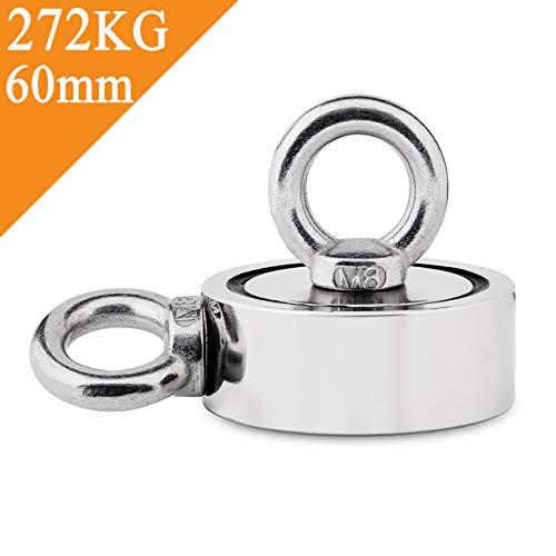 Uolor 272 Kg Haftkraft Doppelseitig Neodym Ösenmagnet, Super Stark Magnete Perfekt zum Magnetfischen Magnet Angel - Ø 60mm mit 2 Öse Neodymium Topfmagnet