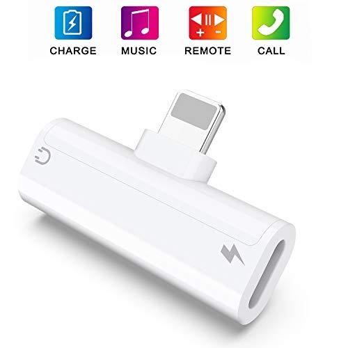 Kopfhörer-Adapter für iPhone 7 Separator Kopfhörer-Adapter Elektronisches Zubehör für iPhone 8/8 Plus/X / 7/7 Plus/Xs/Xs Max/XR (Unterstützung Anruf + Kosten + Musik + Steuerung) Weißer Konverter