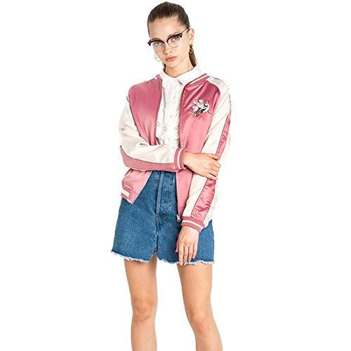 QZHE Bomberjacke Pink Damen Jacke Floral Bestickt Chic Satin Pilotenjacke Warm College Wind Lose Beiläufige Dünne Jacke, XXL