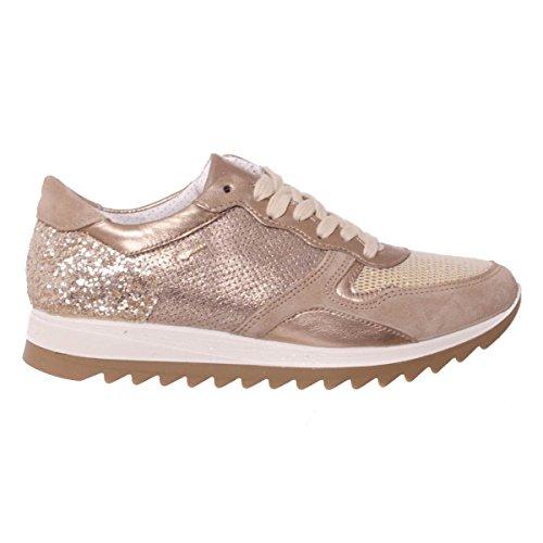 IGI&CO 77713 sneakers scarpe donna scamosciate glitterate visone/oro Visone/Oro