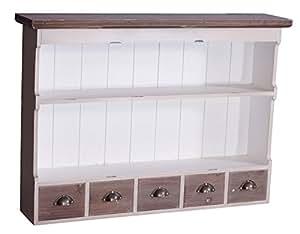 landhausm bel wandregal paris mit 5 schubladen vintage look creme wei landhaus. Black Bedroom Furniture Sets. Home Design Ideas