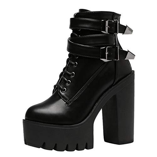 Botines de Tacón Alto con Plataforma Zapatos de Tacón de 12 cm Botas de Nieve Invierno Mujer Impermeable...