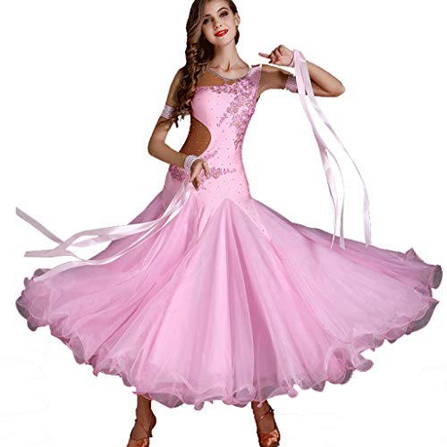 Swing Kostüm Ballroom Dance - CX Ballroom Dance Performance Kleider Für Frauen Smooth Waltz Tango Langarm Great Swing Dance Kostüm (Color : Pink, Size : M)