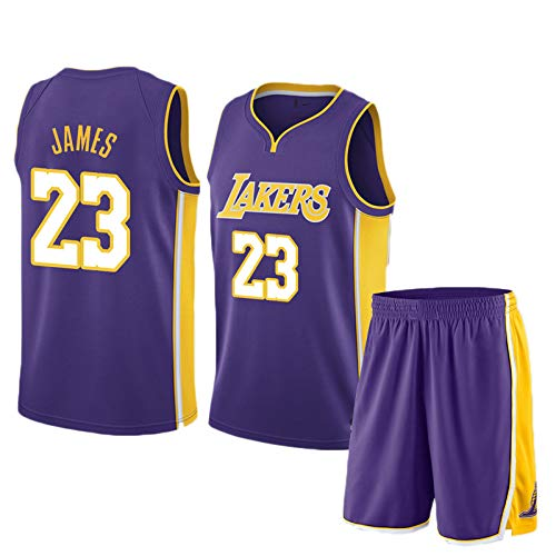 Lebron James # 23 Herren-Basketballtrikot - NBA Los Angeles Lakers, ärmellose T-Shirts, Jersey Und Kurze Hosen,Purple(A)-L