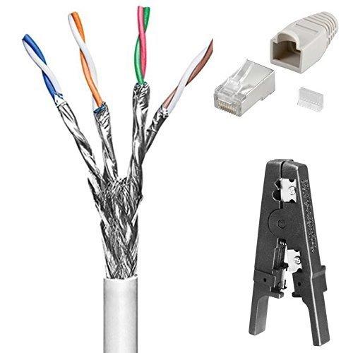 Preisvergleich Produktbild 100 m Cat6 Patchkabel - Netzwerkkabel; Set mit Abisolierer und 20 Stück Netzwerk-Stecker mit Knickschutztülle und Einfädelhilfe; doppelt geschirmt; S/FTP PIMF; Flexibler Innenleiter