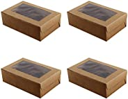 10pcs 6 Cavities Kraft Paper Cupcake Box with Inserts Cupcake Containers Bakery Cake Carriers for Home Dessert