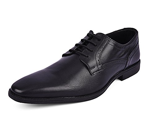 Missimo Men's Pure Leather Black Lace-Up Derby Shoes