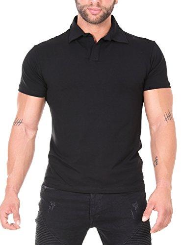 Baxmen Polo Club Kurzarm Poloshirt Herren Polohemd, Regular Fit, Bestickt & Bedruckt, T-Shirt mit Hemdkragen Sportlich & Elegant Schwarz 01-5896 Medium -