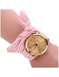 Reloj de pulsera - GENEVA reloj de pulsera de banda de bufanda de puntos de raya rosado para mujeres