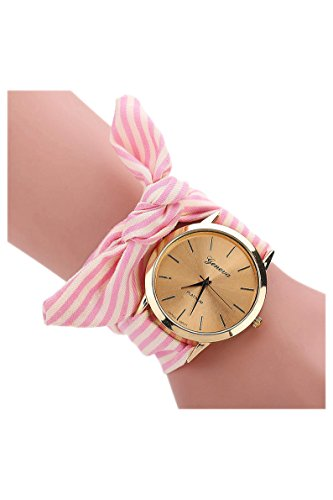 Dame - Armbanduhr - GENEVA Frauen Punkt Schleife Schal-Band Armbanduhr rosa Streifen