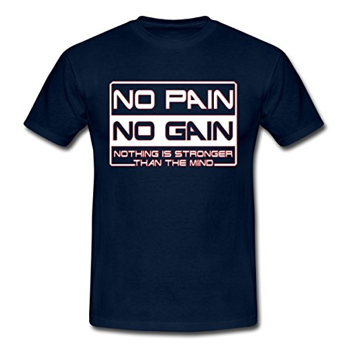 Musculation Expression No Pain No Gain T-shirt Homme de Spreadshirt®‎, L, marine