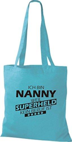 Shirtstown Stoffbeutel Ich bin Nanny, weil Superheld kein Beruf ist sky