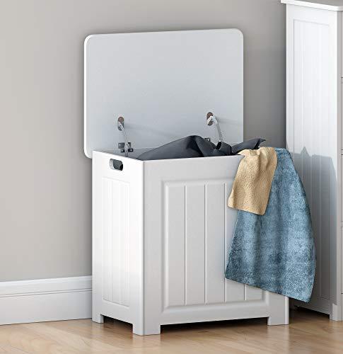 Dakea Wäschetruhe mit Deckel aus weiß MDF Volumen 90 Liter 51 x 35 x 51cm Schrank