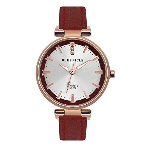 Frauen Quarz Analog Uhr, Anmut Damenuhr Wasserfeste Armbanduhr mit Weichem Lederband Frauen und Mädchen Geschenk Rot