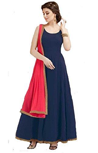 Lovisa Fashion Women's Taffeta Semi-Stitched Gown (Taffetgown_Blue_Free Size)