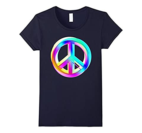Neon Colored Crossed PEACE signs T-Shirt Female Small