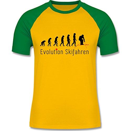Evolution - Skifahren Evolution - zweifarbiges Baseballshirt für Männer Gelb/Grün