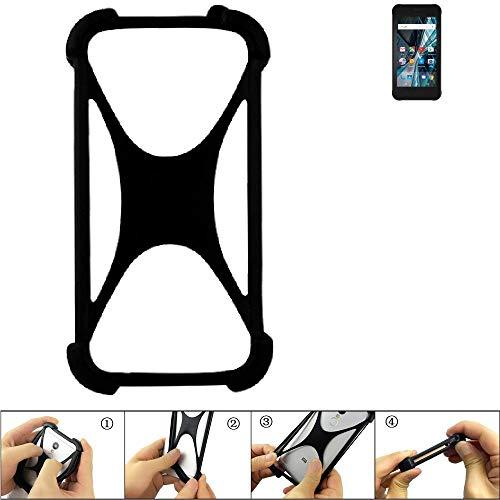 K-S-Trade Handyhülle für Archos Sense 47X Schutz Hülle Silikon Bumper Cover Case Silikoncase TPU Softcase Schutzhülle Smartphone Stoßschutz, schwarz (1x)