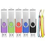 FEBNISCTE 5 Stück 8GB USB Stick 2.0 Speicherstick Rotate Metall Mehrfarbig (Rot,Grün,Schwarz,Blau,Violett)