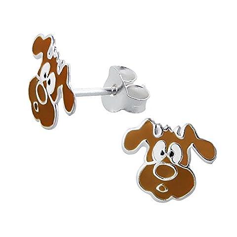 Laimons Kids Bijou pour enfant boucles d'oreilles pour enfant chien marron argent sterling 925