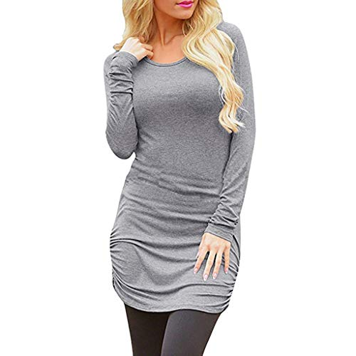 WWricotta Women's Casual Long Sleeve Slim Ruched Tunic T-Shirt Dress Mini Dress(Grau,M)