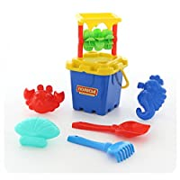 Polesie 35455 No.283 Mill Sieve, Fortress Bucket Big, Shovel, Rake No.5, Sand Forms (Crab Sea Horse with Seashell Sets with Sandmill No.2, Multi Colour