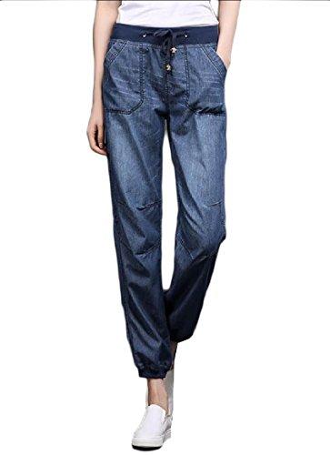 CuteRose Women's Big Pockets Relaxed Summer Tapered Leg Denim Plus Size Jean