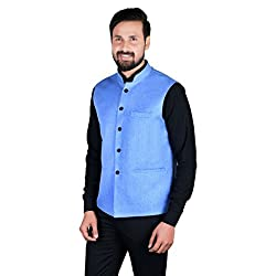SHOPYBUCKET Light Blue Colour Linen Material Long Sleeve Nehru Jacket For Men