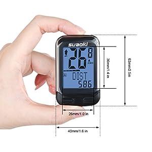 Suaoki 3000 - Ciclocomputador Ordenador Digital Para Bicicleta (Sensor Cadencia, Velocímetro, Cuentakilómetros, 22 Funciones, Multi-Dato Registro) Negro