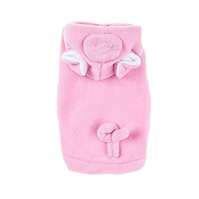 Emours Pig Dog Cat Puppies Pet Halloween Costumes Apparel Hoodies Coat With Warm Fleece Pink from pupproperty dog clothing