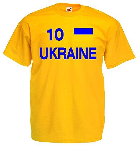 world-of-shirt Herren T-Shirt Ukraine EM 2016 Trikot Nr 10 S-XXXL Gelb