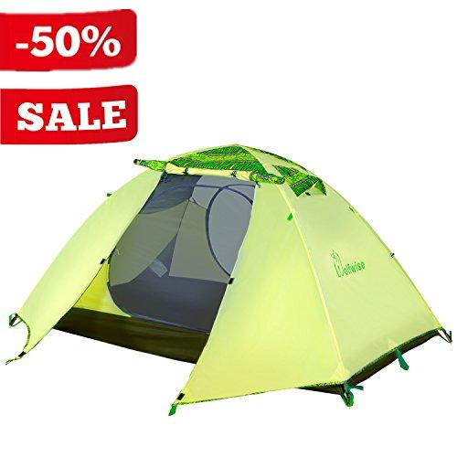 WolfWise Tenda Due Posti Illuminazione LED Interna USB Portatile Tenda da Campeggio...