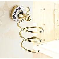 tougmoo Sex bagno asciugacapelli vassoio di scaffali di archiviazione in rack a parete porte-sèche-cheveux Asciugacapelli accessori di bagno colpo di capelli, Golden