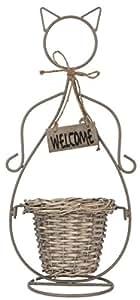 Clayre & Eef 6ro0305Pot Support Porte Plante chat Welcome bien sûr env. 24x 16x 51cm