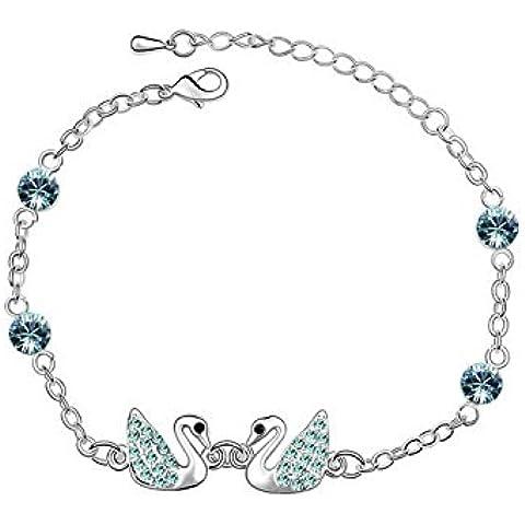 Andonger Placcata oro 18K Lovely Couple cigno Highland cristallo braccialetto pendente