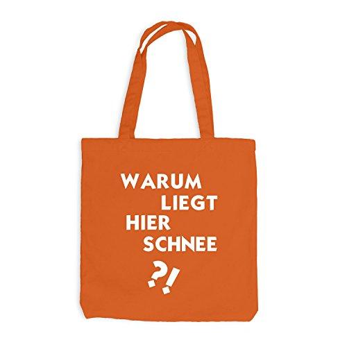 Jutebeutel - Warum liegt hier Schnee? - Fun Party Dance Orange