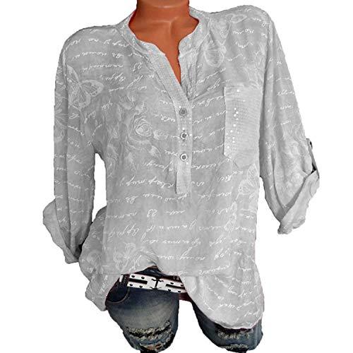 Herbst Bluse Langarm Schmetterling Batik Print Rundhalsausschnitt T-Shirt (Grau, XL)