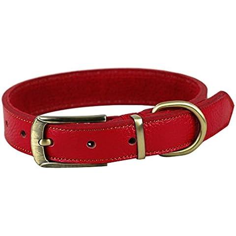 ZEEY Collar de cuero suave ajustable básico del cuello de la correa para perros, cuello 35cm-45cm y 2,5 cm de ancho, fácil de usar collar de cobre hebilla de cinturón para los pequeños perros / medio con el gancho correa del perro (Rojo)
