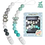 Dummy Clips for Boys and Girls Soother Chain Holder Pacifier Clips Raccoon Koala Teether Silicone Teething Beads Baby Teething Binky Holder Newborn Dummies BPA Free (Green Grey)